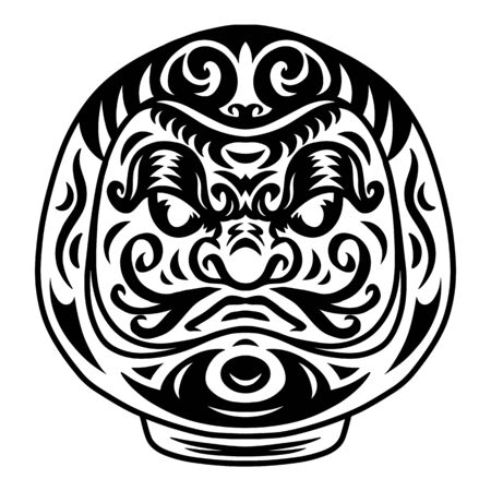 Daruma is a Japanese deity doll. Vector illustration isolated on white background. Design element for logo, badge, tattoo, t-shirt, banner, poster. 向量圖像