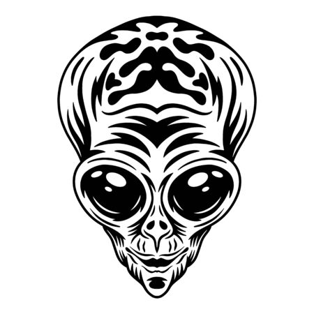 Alien face. Design idea for t-shirt print in vintage monochrome style. Design element for poster, card, banner. Vector illustration.