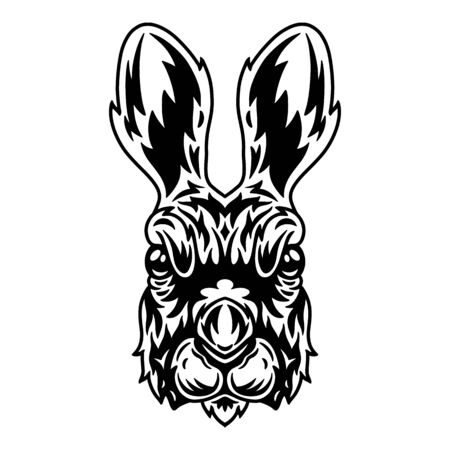 Hare face. Design idea for t-shirt print in vintage monochrome style. Design element for poster, card, banner. Vector illustration. Ilustracja