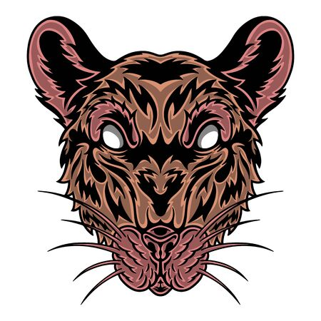 Vintage Rat face. Heading vintage style Isolated on a white background. Design element for logo, badge, tattoo, t-shirt, banner, poster.