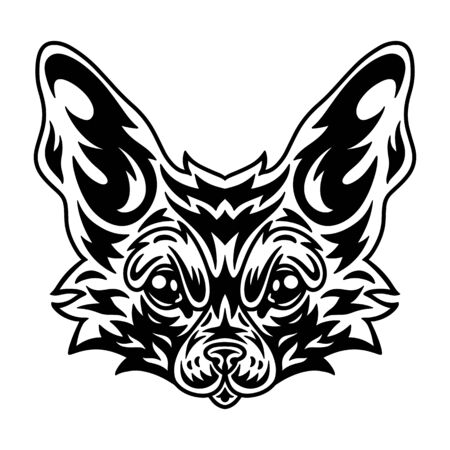 Vintage fennec fox face. Heading vintage style Isolated on a white background. Design element for logo, badge, tattoo, t-shirt, banner, poster. Illusztráció
