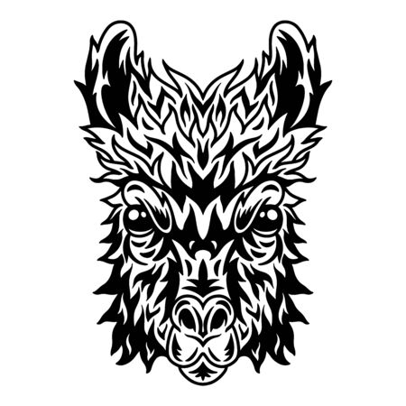 Llama face. Design idea for t-shirt print in vintage monochrome style. Design element for poster, card, banner. Vector illustration.