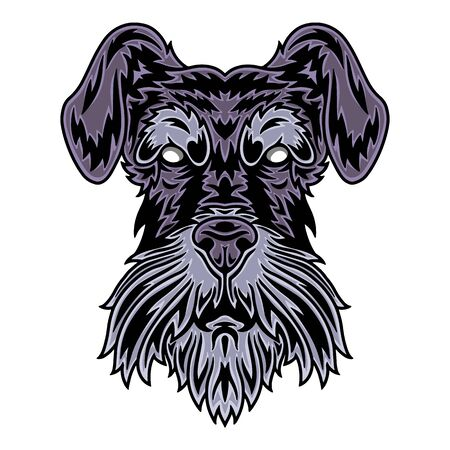 Vintage Dog face. Heading vintage style Isolated on a white background. Design element for logo, badge, tattoo, t-shirt, banner, poster.