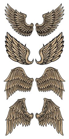 Set colorful vintage retro wings angels and birds isolated vector illustration in tattoo style. Design element for  badge, tattoo, t-shirt, banner, poster.
