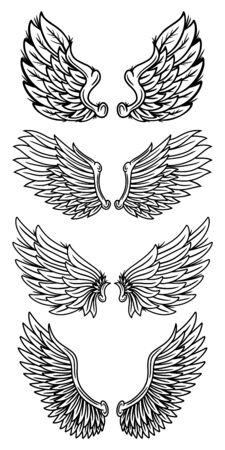 Zestaw vintage retro skrzydła aniołów i ptaków na białym tle ilustracji wektorowych w stylu tatuażu. Element projektu na odznakę, tatuaż, t-shirt, baner, plakat.