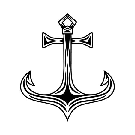 Vintage retro ship anchor isolated vector illustration on a white background. Design element for  badge, tattoo, banner, poster.