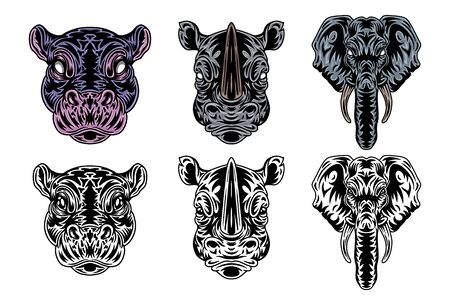 Animal face hippo, rhino, elephant vintage retro styled. Vector illustration isolated on white background. Design element for  badge, tattoo, banner, poster.