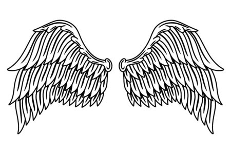 Vintage retro wings angels and birds isolated vector illustration in tattoo style. Design element for  badge, tattoo, t-shirt, banner, poster.