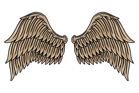 Colorful vintage retro wings angels and birds isolated vector illustration in tattoo style. Design element for  badge, tattoo, t-shirt, banner, poster.