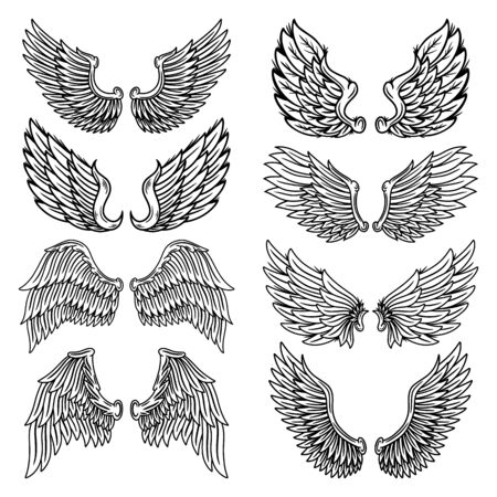 Set of vintage retro wings angels and birds isolated vector illustration in tattoo style. Design element for  badge, tattoo, t-shirt, banner, poster.