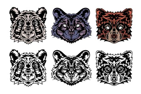 Animal face Panda, Raccoon, Red panda. Vintage retro style. Vector illustration isolated on white background. Design element for  badge, tattoo, banner, poster.