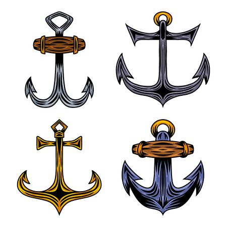 Set of Vintage retro ship anchor isolated vector illustration on a white background. Design element for  badge, tattoo, banner, poster. Stock Illustratie