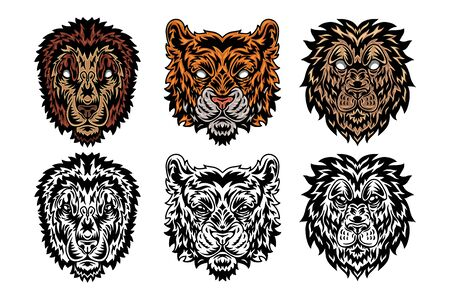 Animal face lion, tiger vintage retro style. Vector illustration isolated on white background. Design element for  badge, tattoo, banner, poster. Stock Illustratie