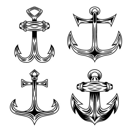 Set of Vintage retro ship anchor isolated vector illustration on a white background. Design element for  badge, tattoo, banner, poster. Ilustracja