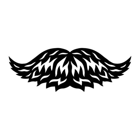 Vintage retro mustache isolated vector illustration on a white background. Design element for  badge, tattoo, banner, poster.