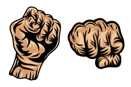 Set of Colorful vintage retro human fist hands isolated vector illustration on a white background. Design element for  badge, tattoo, banner, poster.