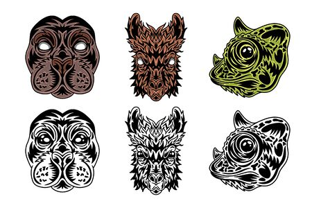 Animal face seal, llama, chameleon vintage retro styled. Vector illustration isolated on white background. Design element for  badge, tattoo, banner, poster. Stock Illustratie