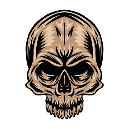 Vintage retro human skull isolated vector illustration on a white background. Design element for  badge, tattoo, banner, poster. Ilustrace