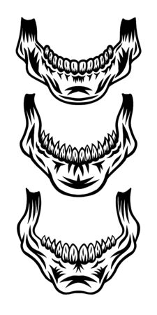 Vintage retro human skull jaw isolated vector illustration on a white background. Design element for  badge, tattoo, banner, poster.