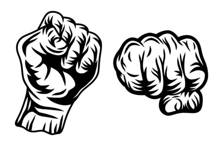 Set of Vintage retro human fist hands isolated vector illustration on a white background. Design element for  badge, tattoo, banner, poster.