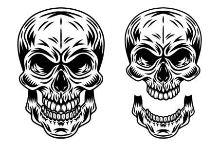 Vintage retrò teschio umano e mascella isolato illustrazione vettoriale su sfondo bianco. Elemento di design per badge, tatuaggio, banner, poster.