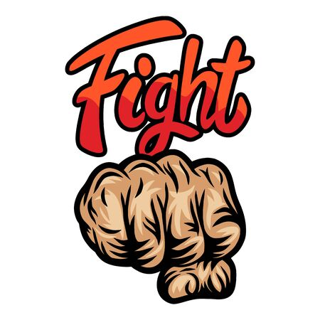 Colorful vintage retro human fist hands isolated vector illustration on a white background. Design element for  badge, tattoo, banner, poster. Çizim