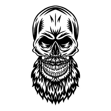 Vintage retro human skull with mustache beard isolated vector illustration on a white background. Design element for  badge, tattoo, banner, poster.