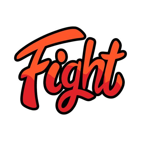 Vintage retro fight lettering word isolated vector illustration on a white background. Design element for  badge, tattoo, banner, poster.
