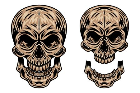 Vintage retro human skull and jaw isolated vector illustration on a white background. Design element for  badge, tattoo, banner, poster. Reklamní fotografie - 133552269