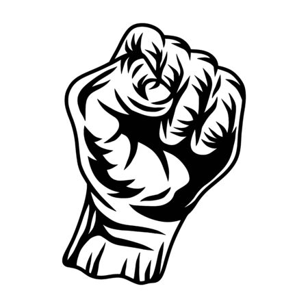 Vintage retro human fist hands isolated vector illustration on a white background. Design element for  badge, tattoo, banner, poster.