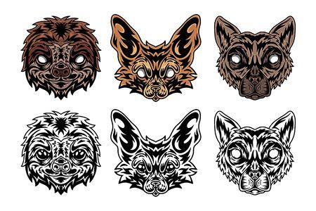 Animal face sloth, fenech fox, lemur vintage retro styled. Vector illustration isolated on white background. Design element for  badge, tattoo, banner, poster. Stock Illustratie
