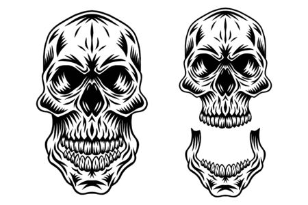 Vintage retro human skull and jaw isolated vector illustration on a white background. Design element for  badge, tattoo, banner, poster.