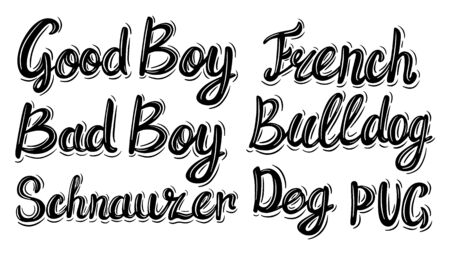 Dog Breed Set. Lettering phrase in vintage style isolated on white background. Design element for poster, card, banner, flyer, logo.