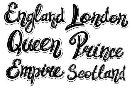 Set of England, London. Lettering phrase in vintage style isolated on white background. Design element for poster, card, banner, flyer, logo.