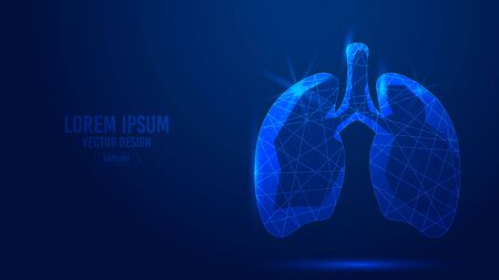 Lungs internal organ human geometric lines, low polygon triangles style wireframe vector banner template. Isolated medicine science technology concept on a blue background polygonal 3d abstract.