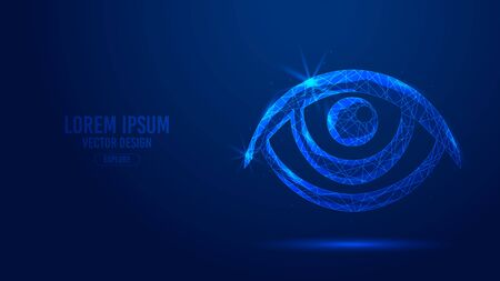 Eyes human organ human geometric lines, low polygon triangles style wireframe vector banner template. Isolated medicine science technology concept on a blue background polygonal 3d abstract.