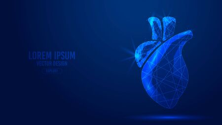 Heart human organ geometric lines, low polygon triangles style wireframe vector banner template. Isolated medicine science technology concept on a blue background polygonal 3d abstract. Ilustração