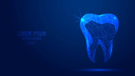 Human tooth, dental implant geometric lines, low poly style wireframe vector banner template. Isolated medicine science technology concept blue background polygonal 3d abstract.