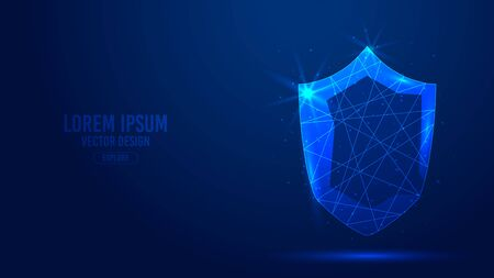 Shield protection geometric lines, low poly style wireframe vector banner template. Isolated cybersecurity, information and web security technology concept blue background polygonal 3d abstract. Imagens - 134400601