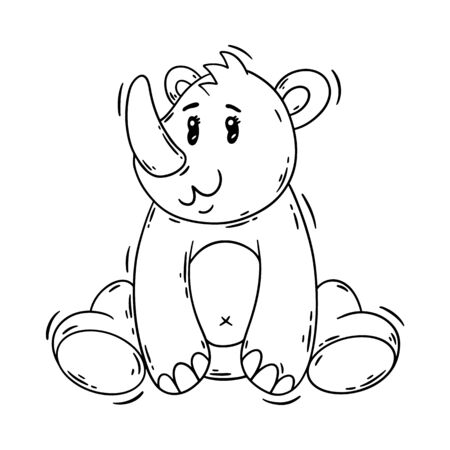 Cute cartoon baby rhinoceros. Animal print. Vector illustration isolated on a white background. Great design for your product.