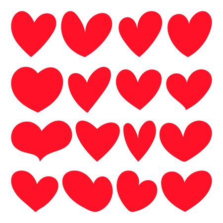 Red heart Cartoon icons vector illustration on a white background. Great design for any purposes.