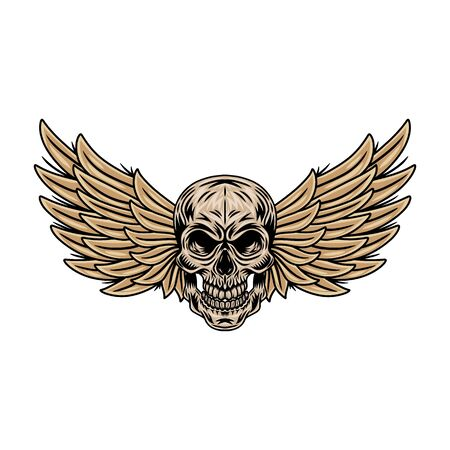 Vintage cartoon winged skulls isolated retro vector illustration on a white background. Great design for any purposes. Ilustrace