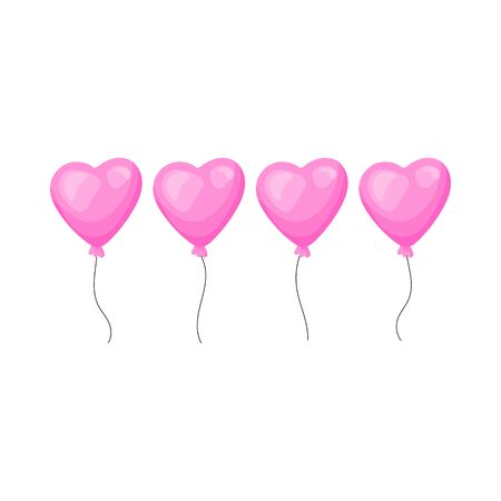 Balloon valentines day. Cartoon icons vector illustration on a white background. Great design for any purposes. Ilustrace