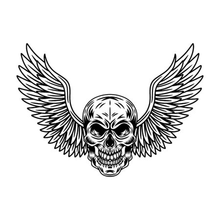 Vintage winged skulls isolated retro vector illustration on a white background. Great design for any purposes.