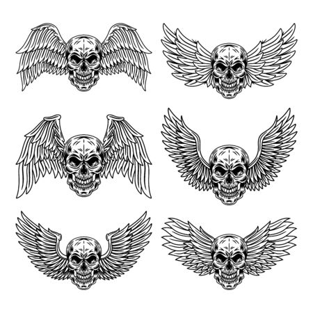 Vintage Set of winged skulls isolated retro vector illustration on a white background. Great design for any purposes. Ilustrace