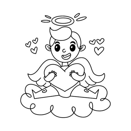 Cute cartoon baby Cupid. Vector illustration isolated on a white background.