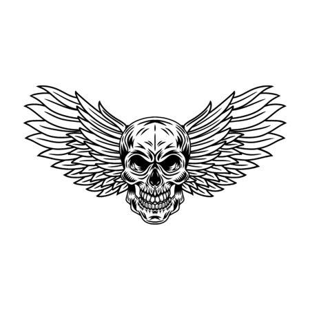 Los cráneos alados de la vendimia aislaron la ilustración retro del vector en un fondo blanco. Gran diseño para cualquier propósito.