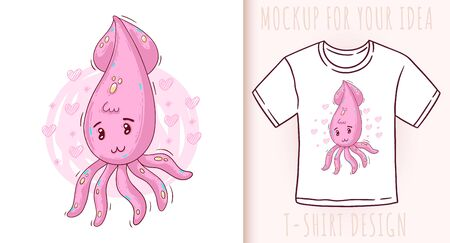 Cartoon cute baby squid. Vector illustration on white background. Great design for your product.