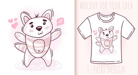 Cartoon cute baby cat. Vector illustration on white background. Great design for your product. Ilustrace