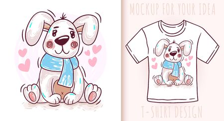 Cartoon cute baby dog puppy. Vector illustration on white background. Great design for your product. 矢量图像
